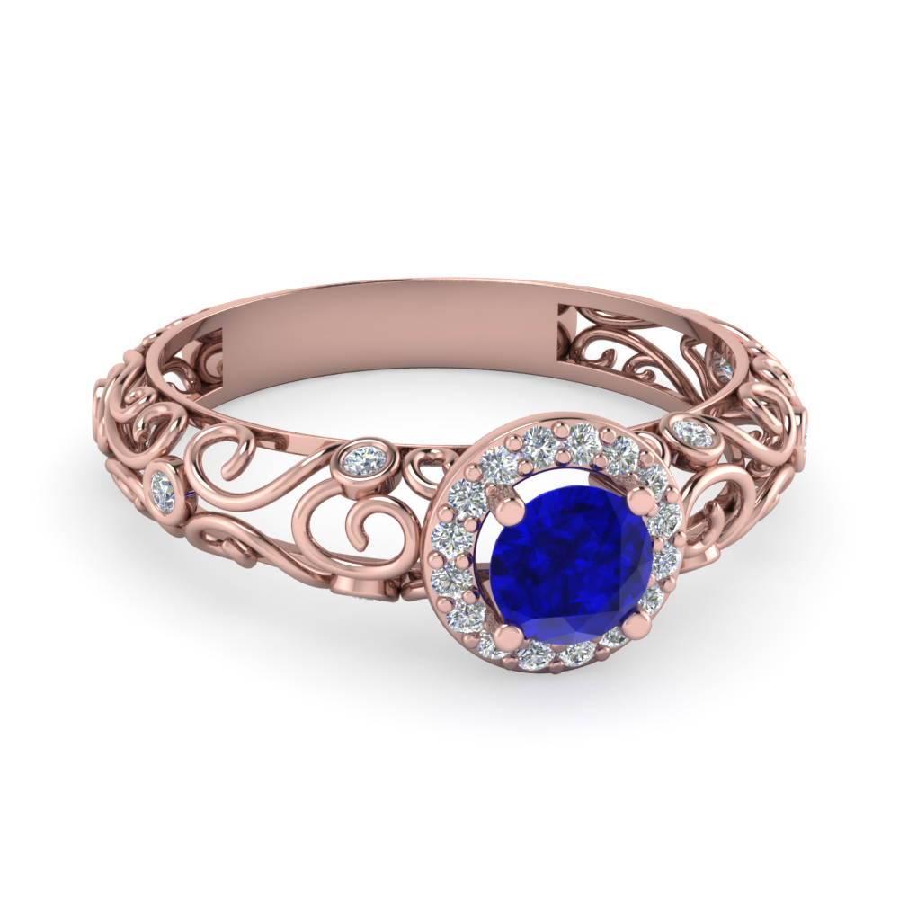 Bezel Filigree Diamond Halo Blue Sapphire Engagement Ring In 14K Rose Gold