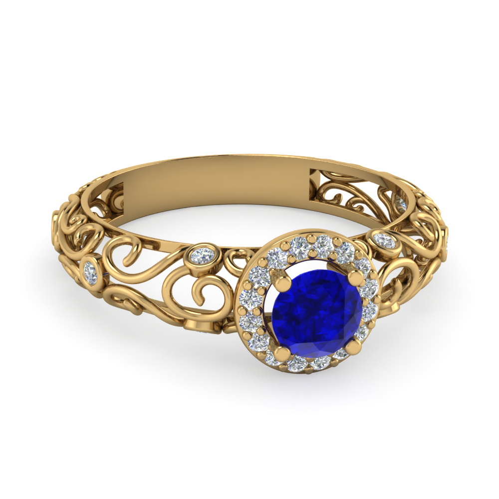 bezel filigree diamond halo blue sapphire engagement ring in 14K yellow gold FD1199RORGBS NL YG AZ