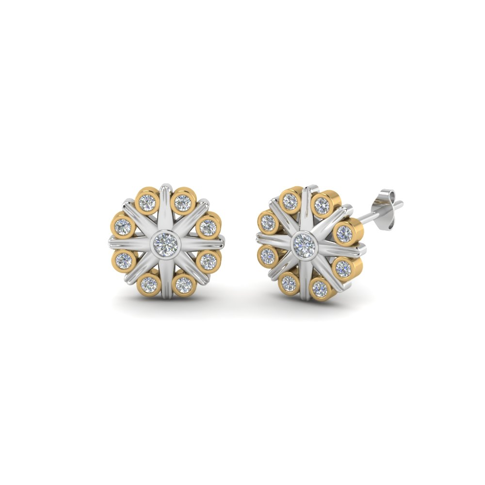 Flower Stud Earring 2 Tone