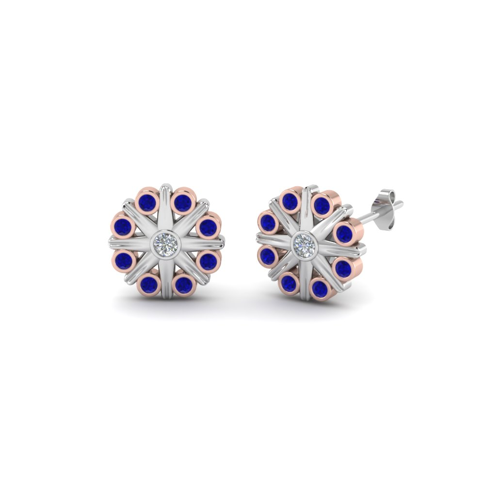 2 Tone Bezel Flower Earring