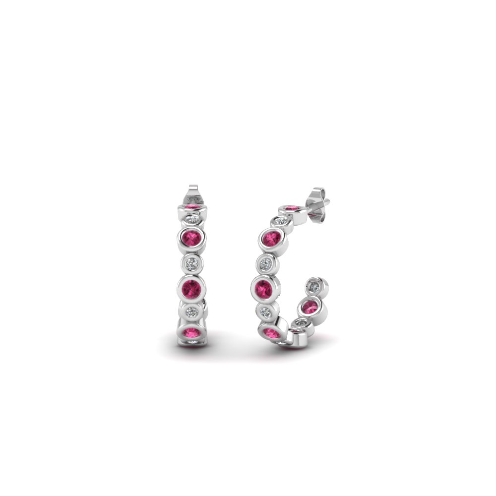 bezel set J hoop diamond earring with pink sapphire in 14K white gold FDEAR86441GSADRPI NL WG