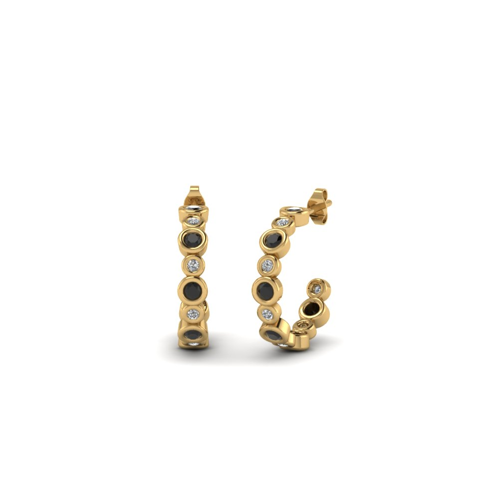 bezel set J hoop earring with black diamond in 18K yellow gold FDEAR86441GBLACK NL YG