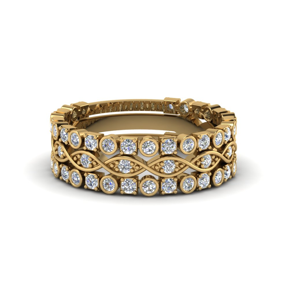 Bezel Twist Diamond Stack Band