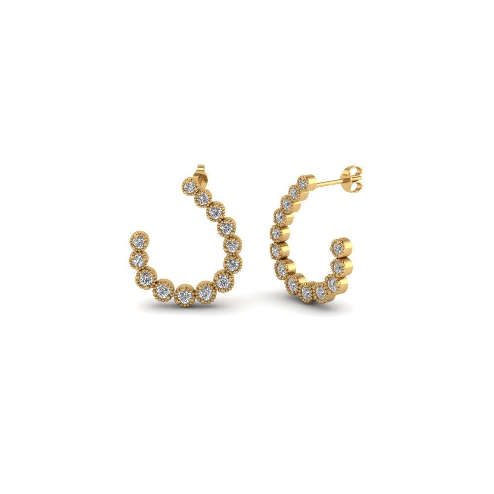 bezel milgrain diamond hoop earring in 14K yellow gold FDEAR86506 NL YG