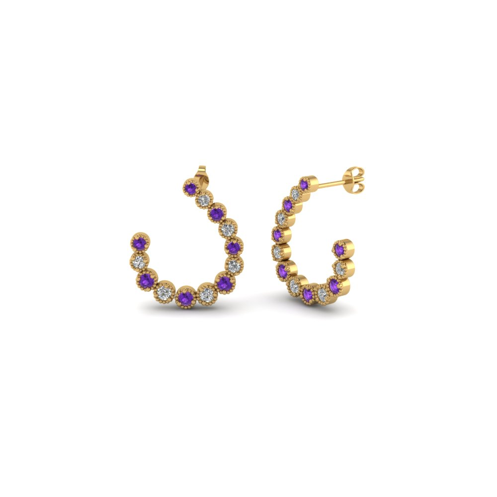 bezel milgrain diamond hoop earring with purple topaz in 14K yellow gold FDEAR86506GVITO NL YG