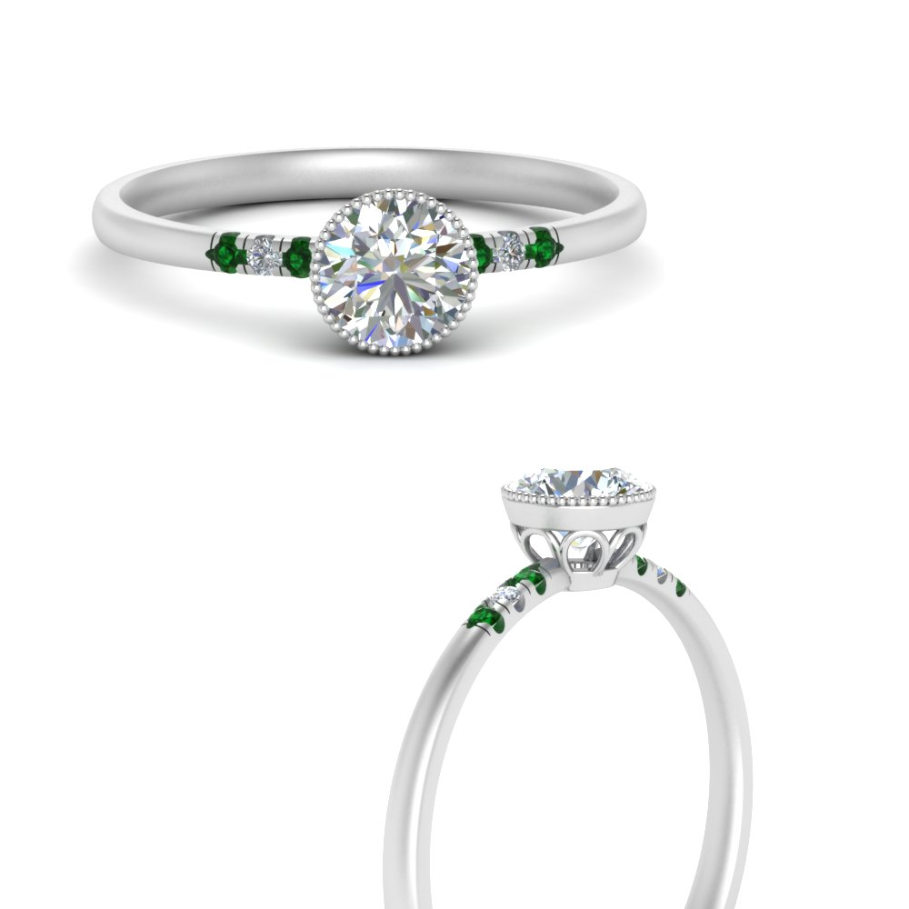 bezel milgrain diamond round cut engagement ring with emerald in white gold FD121996RORGEMGRANGLE3 NL WG