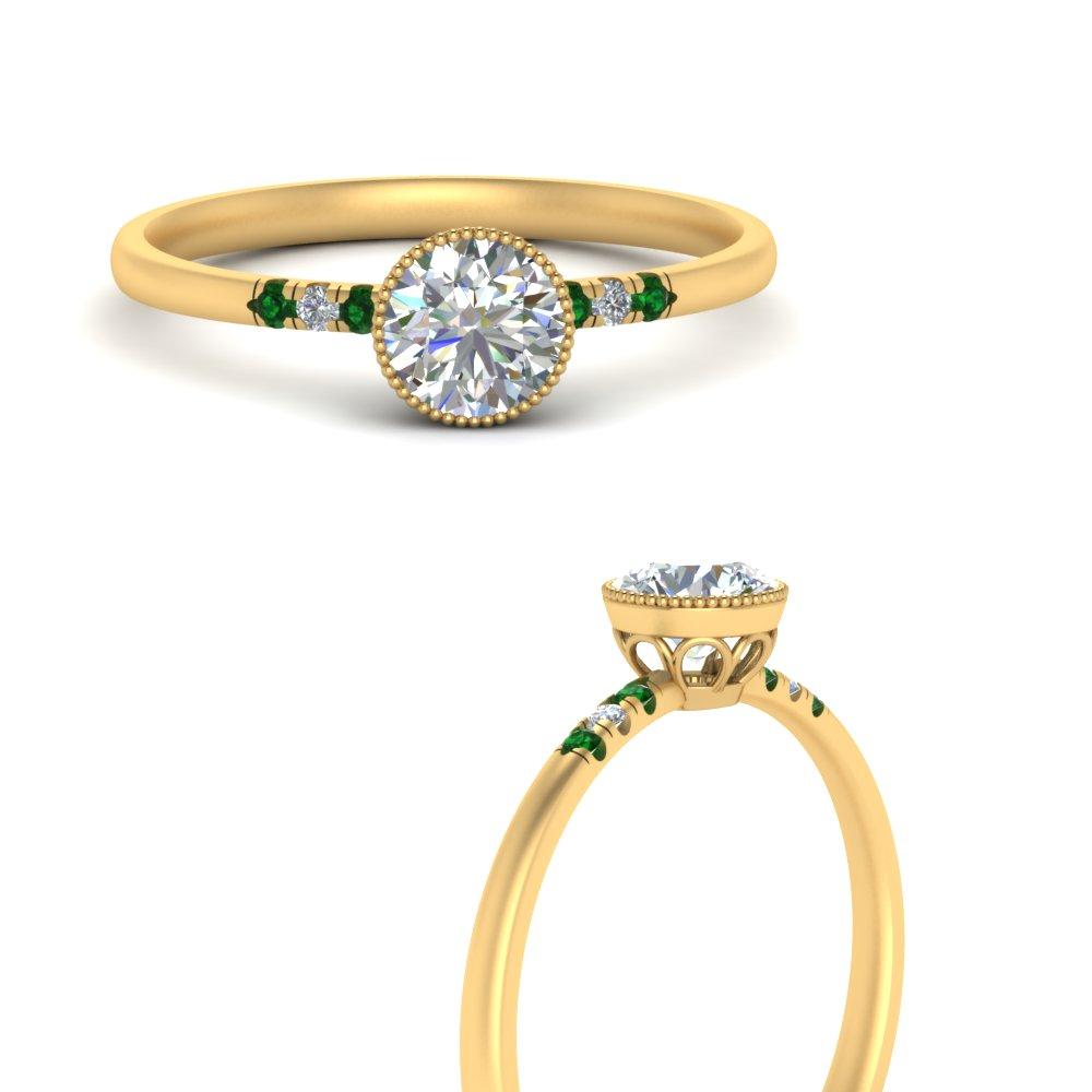 bezel milgrain diamond round cut engagement ring with emerald in yellow gold FD121996RORGEMGRANGLE3 NL YG