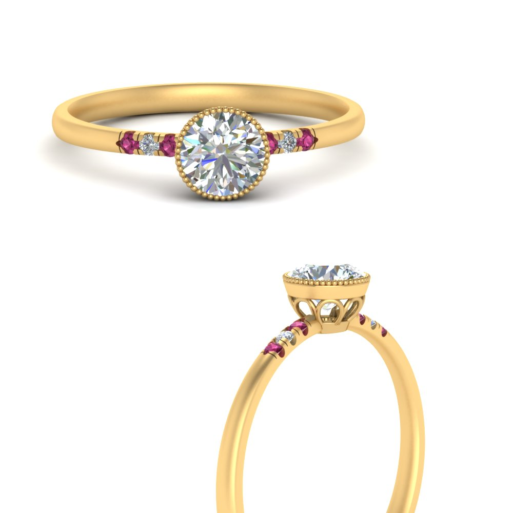 bezel milgrain diamond round cut engagement ring with pink sapphire in yellow gold FD121996RORGSADRPIANGLE3 NL YG