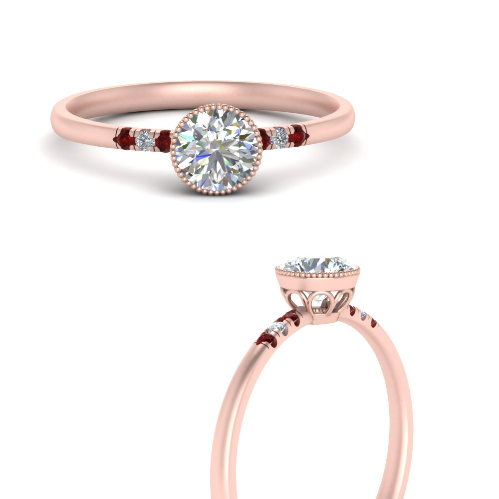 bezel milgrain diamond round cut engagement ring with ruby in rose gold FD121996RORGRUDRANGLE3 NL RG