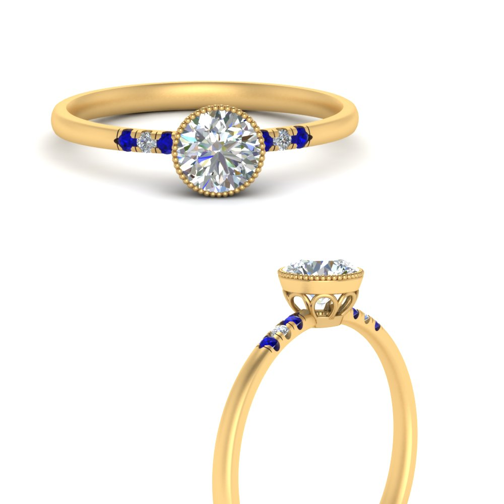 bezel-milgrain-diamond-round-cut-engagement-ring-with-sapphire-in-FD121996RORGSABLANGLE3-NL-YG