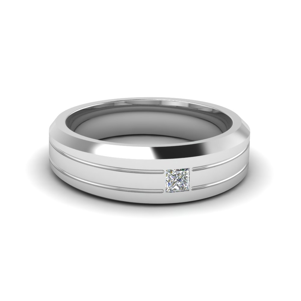 Bezel Princess Cut Diamond Mens Band: White Male Wedding Rings At Reisefeber.org