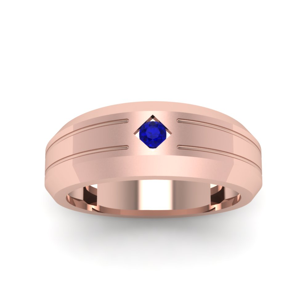 Bezel Round Blue Sapphire Mens Band Engagement Ring In 14K Rose Gold ...