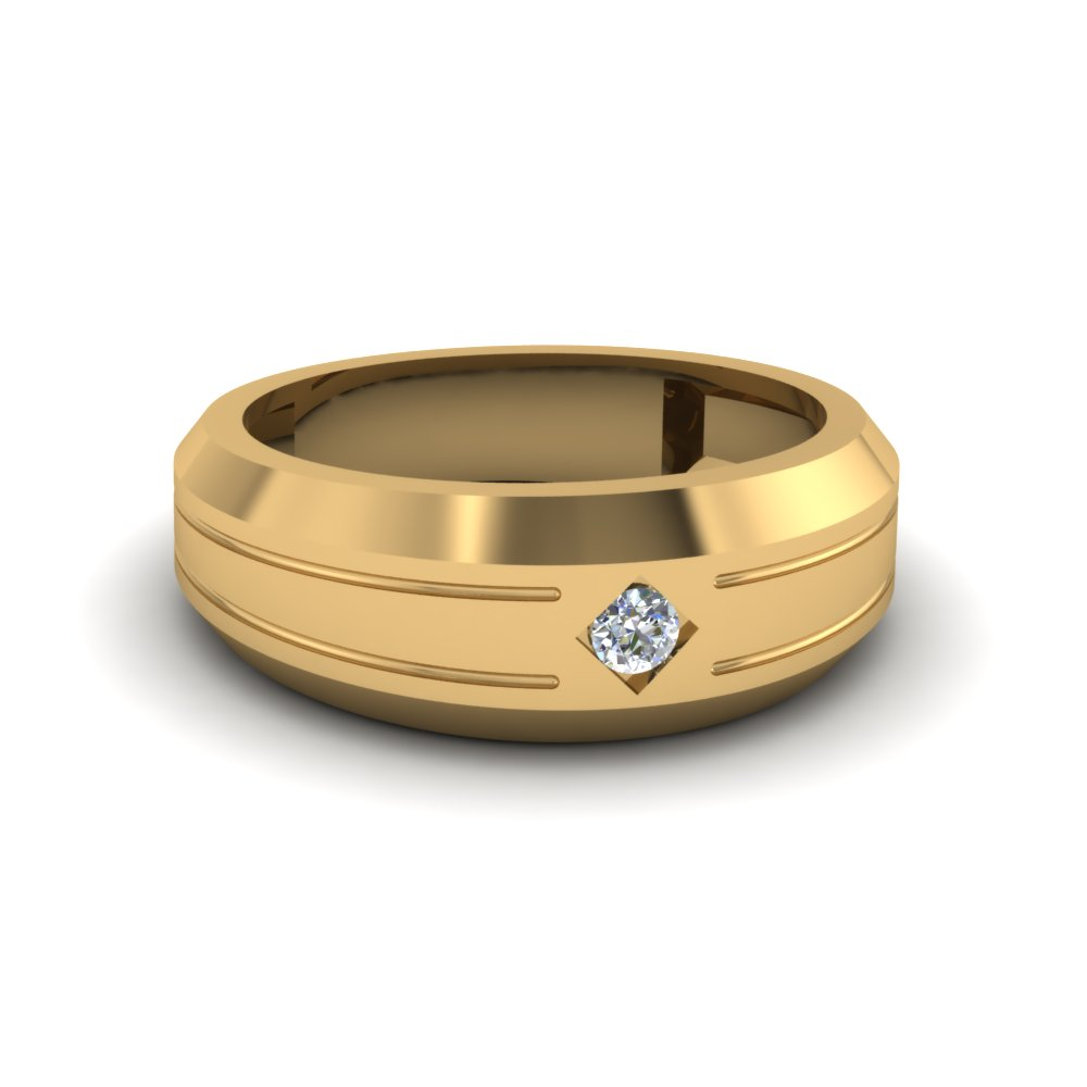 yellow round benchmark ring mens gold with p bands diamond cut single