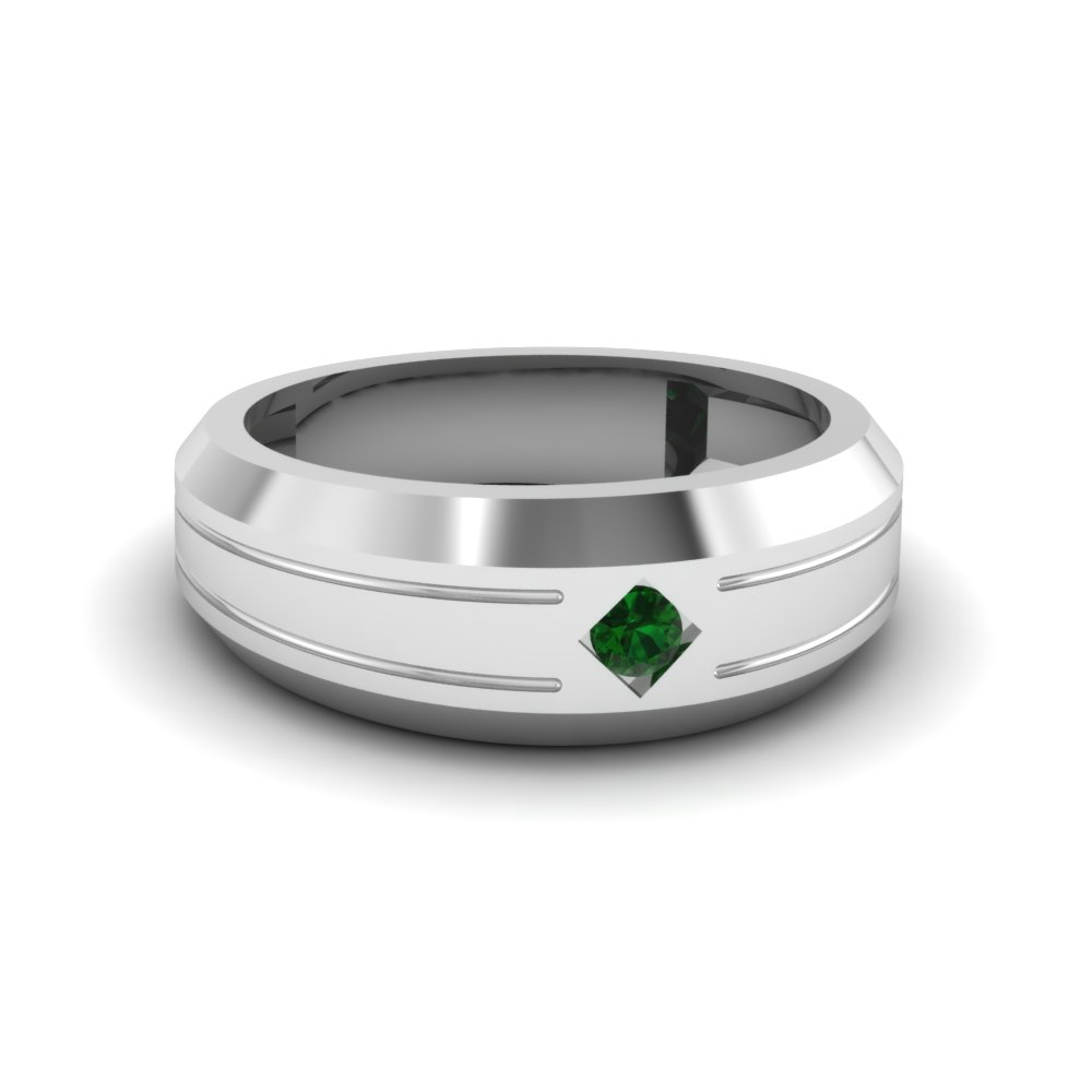 Bezel Round Emerald Mens Band
