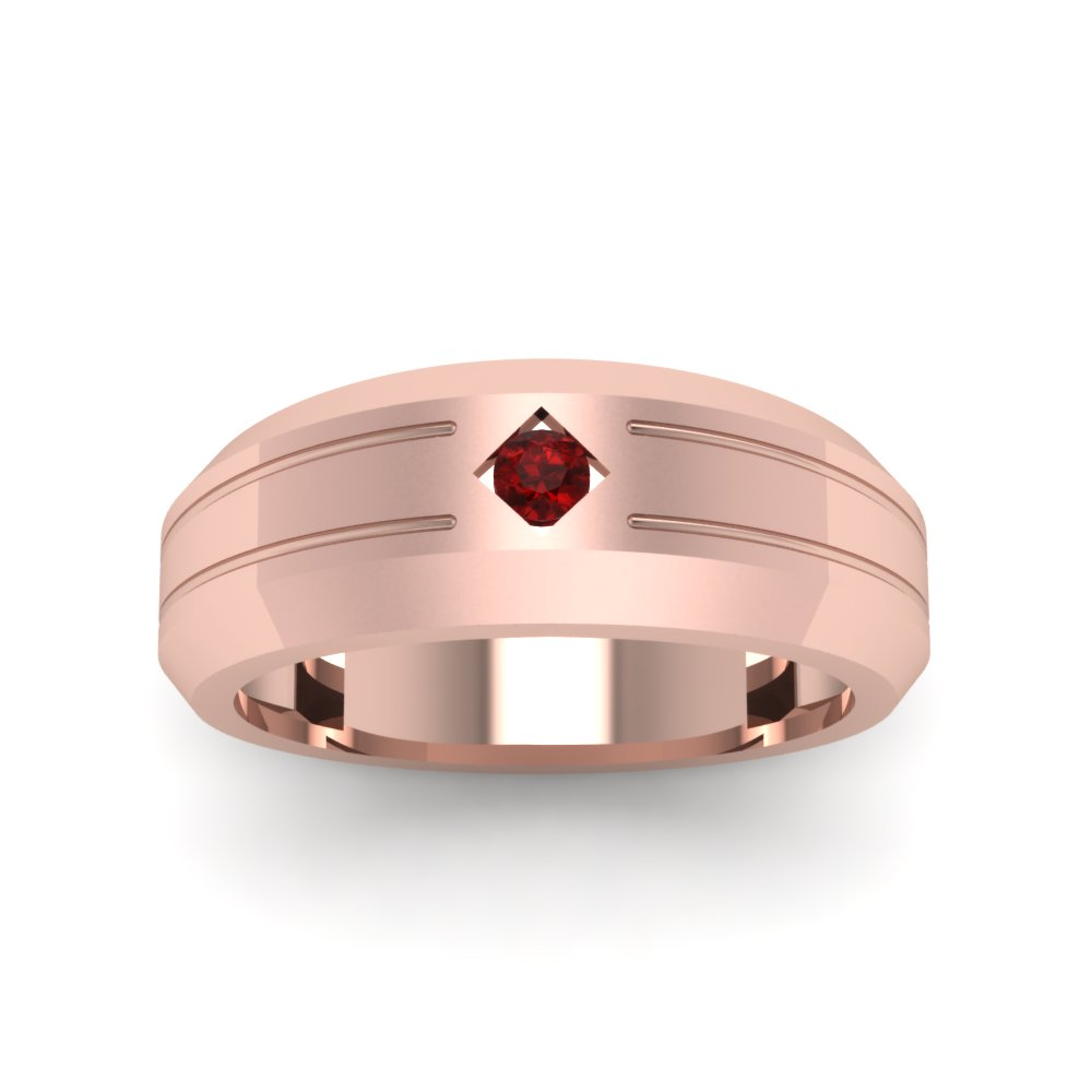 Bezel Round Red Ruby Mens Band Engagement Ring In 18K Rose Gold ...