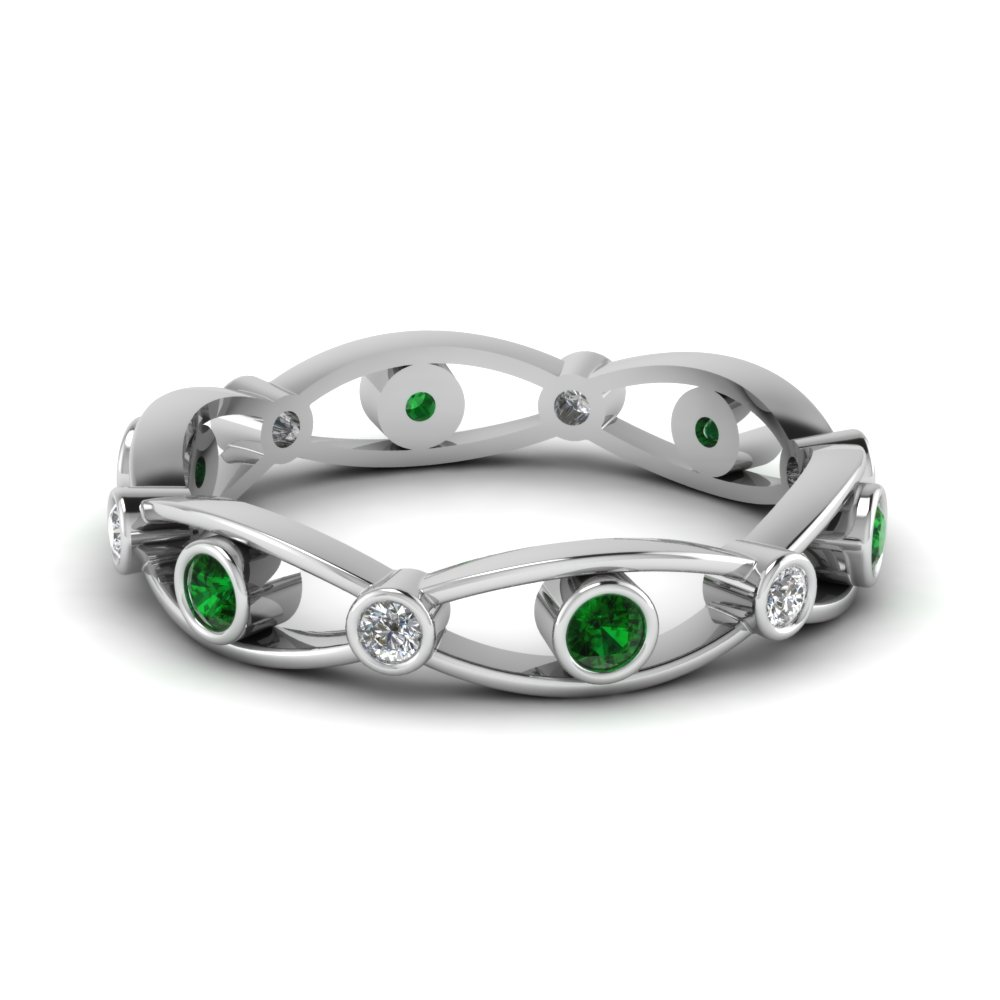 White Gold Bezel Set Emerald Band