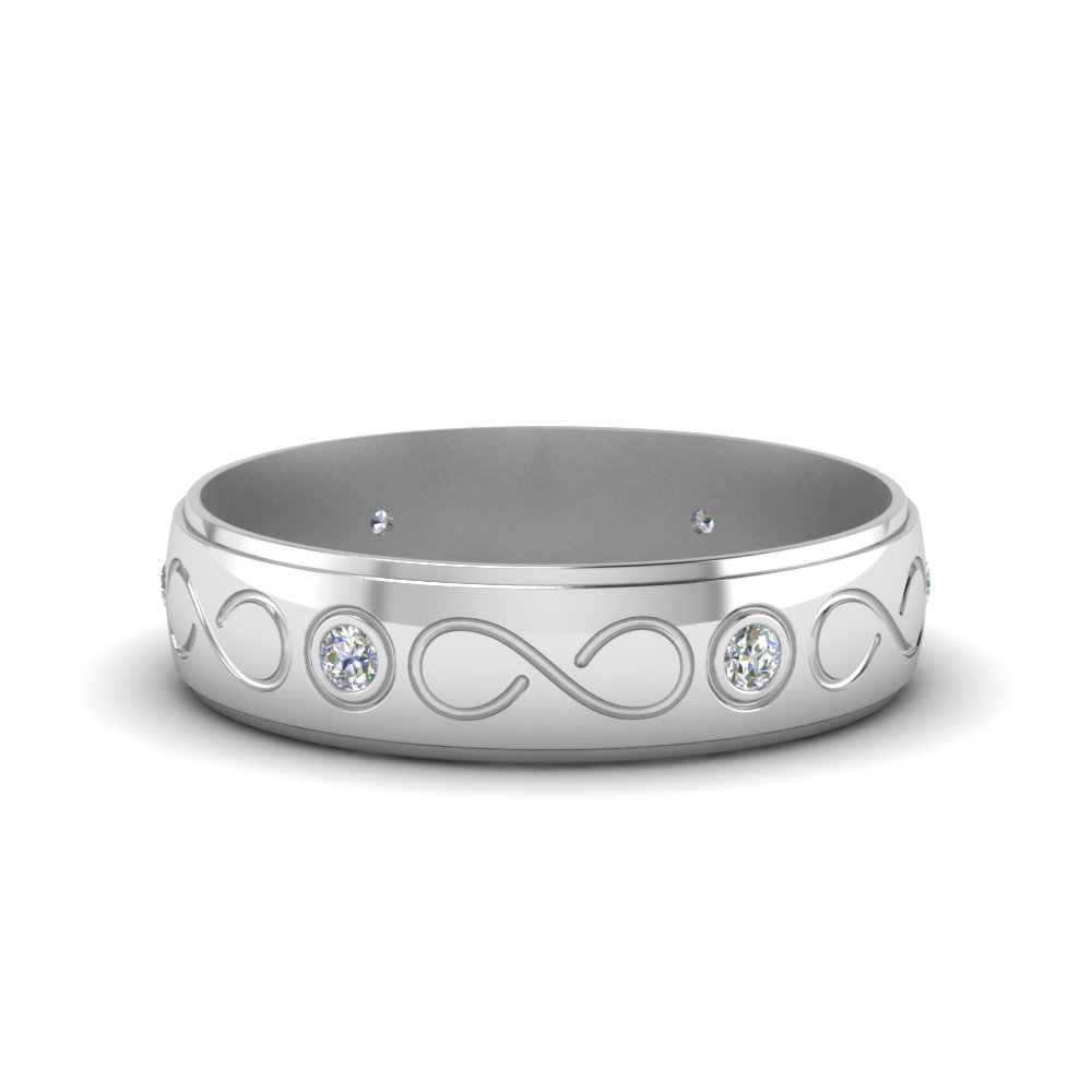 Bezel Set Men Wedding Band