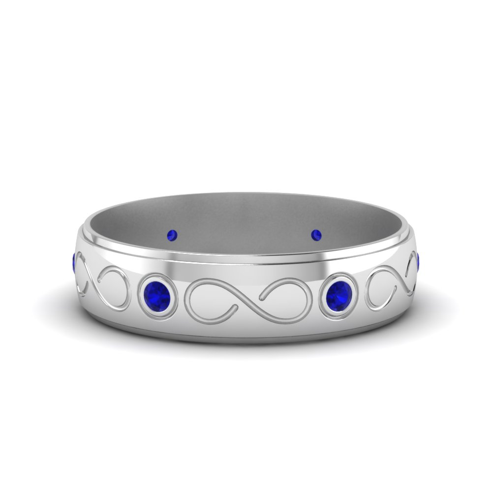 Bezel Set Diamond Mens Wedding Band With Blue Sapphire In 14K
