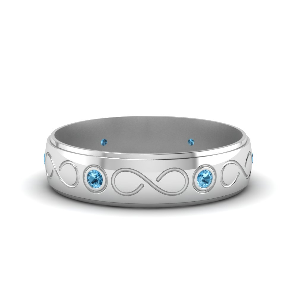 Bezel Set Mens Blue Topaz Band