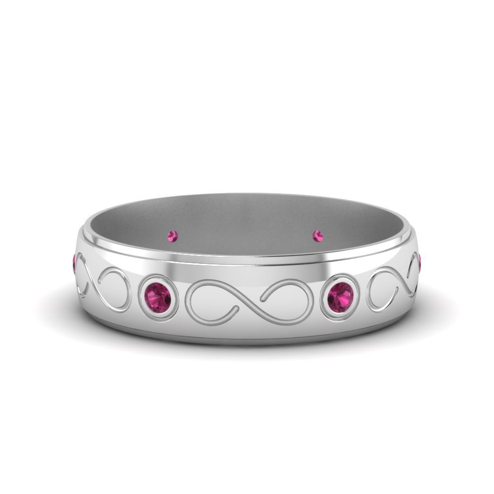 bezel set mens pink sapphire wedding band in FDDB1284BGSADRPI NL WG GS