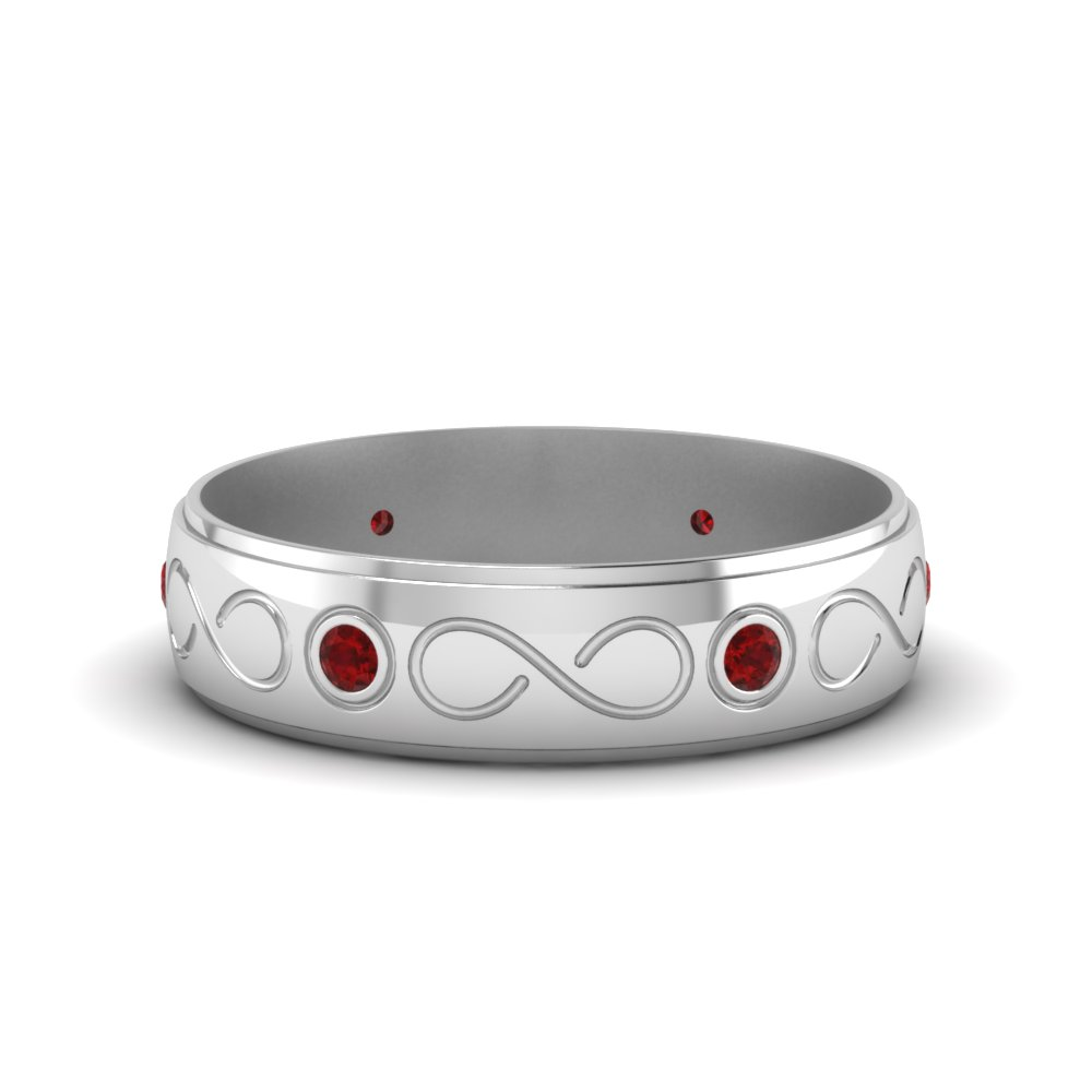 Infinity Ruby Mens Wedding Band