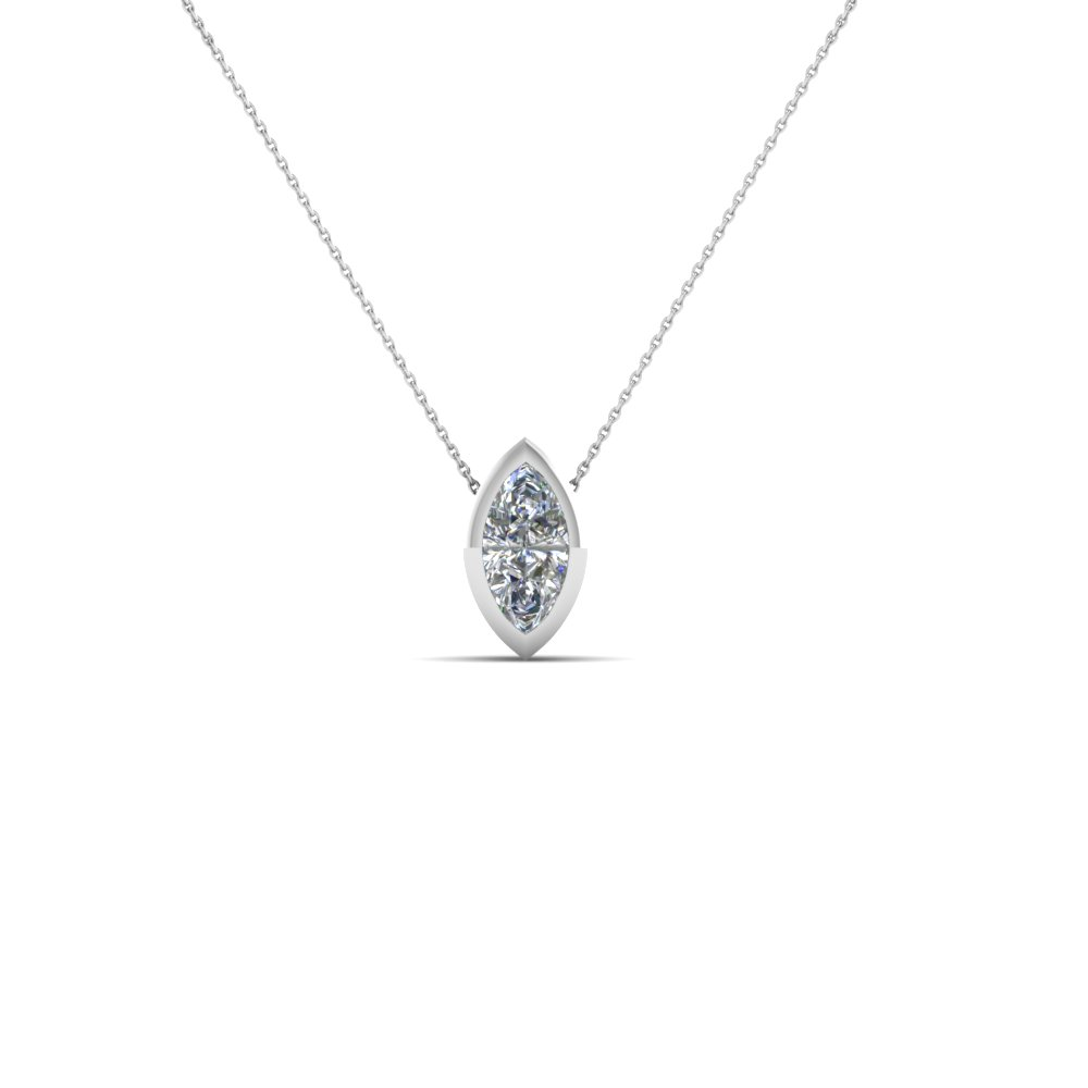 bezel set marquise diamond necklace in 14K white gold FDPD104 NL WG