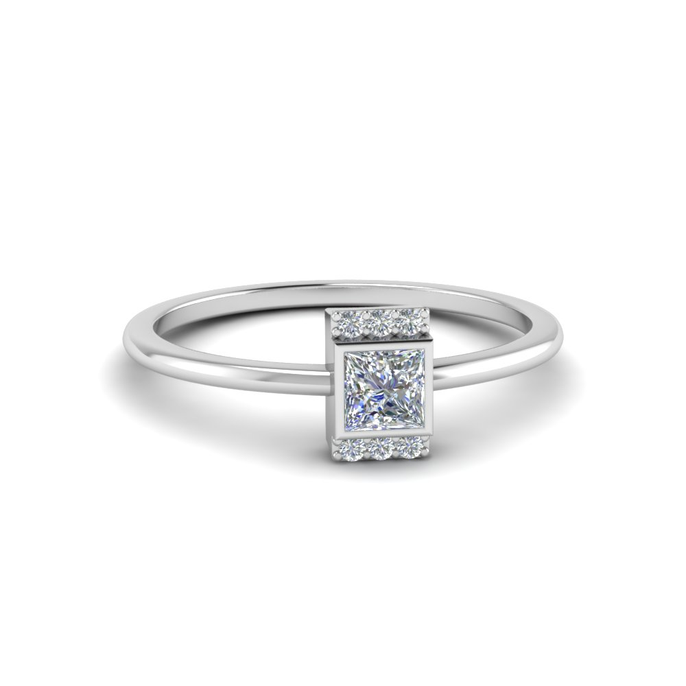bezel set princess cut diamond promise ring in 14K white gold FD8001PRR NL WG