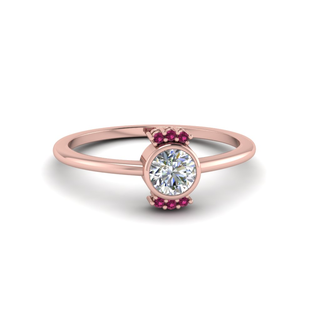 bezel set round cut diamond with pink sapphire promise ring in 14K rose gold FD8002RORGSADRPI NL RG