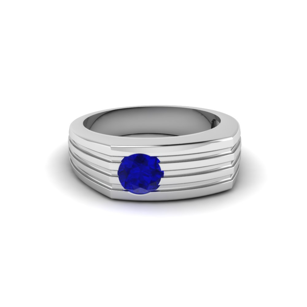 bezel set solitaire blue sapphire wedding ring in 14K white gold FDMR203RORGSABL NL WG