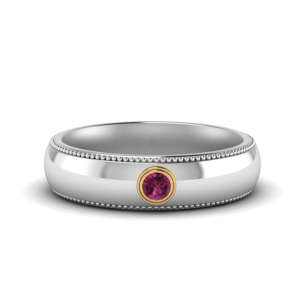 bezel-set-solitaire-mens-pink-sapphire-wedding-ring-in-FD123214BGSADRPI-NL-WG