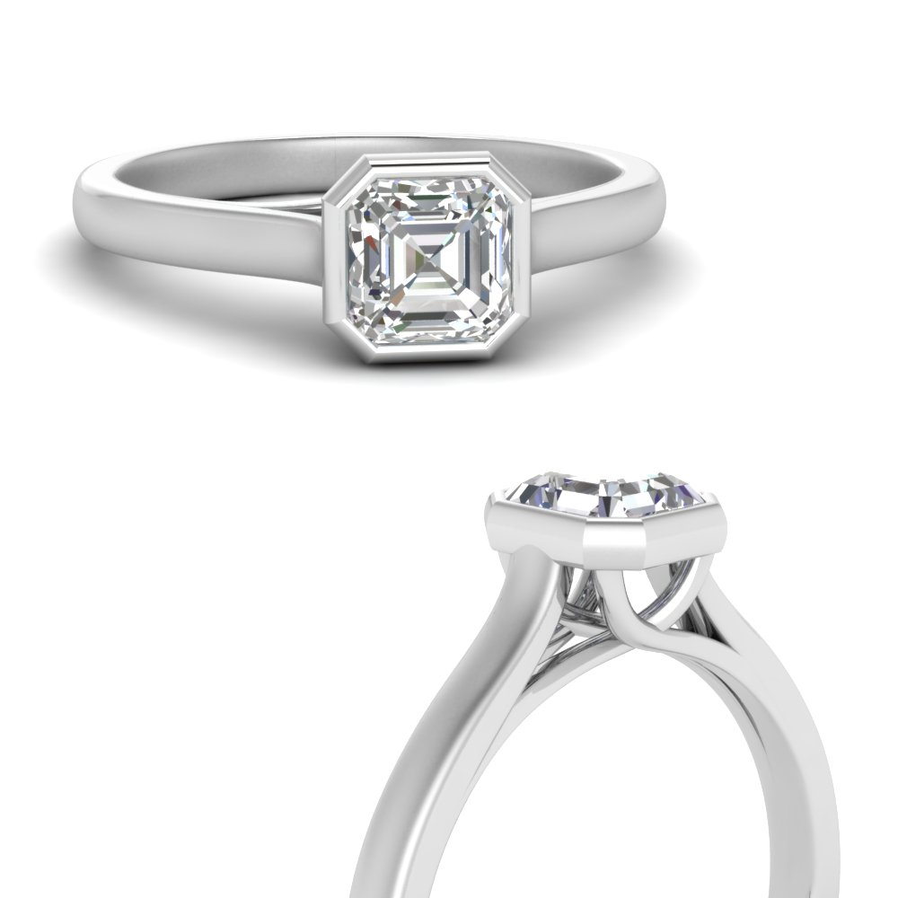 bezel set trellis asscher cut solitaire diamond ring in FDENR7815ASRANGLE3 NL WG