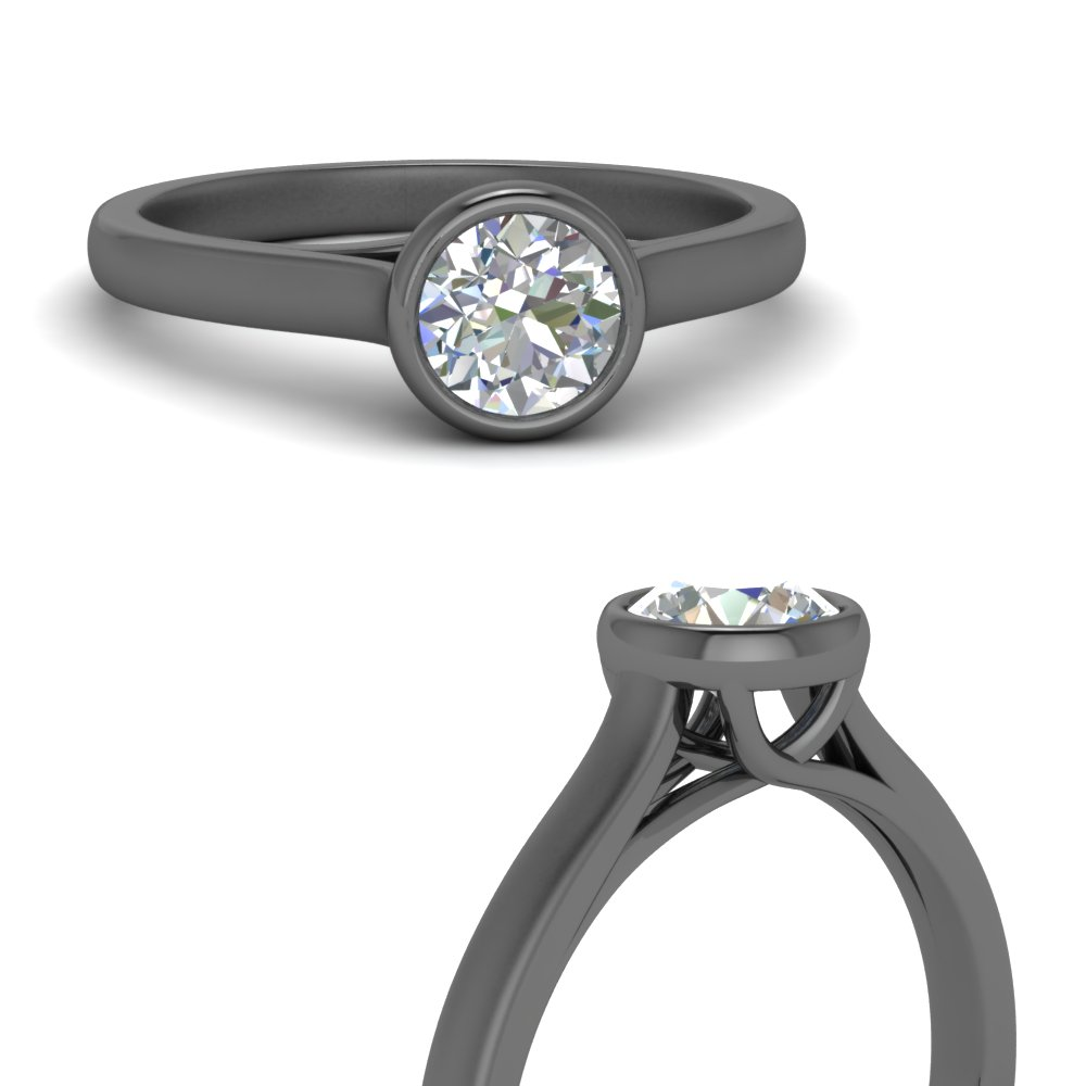 Bezel Set Trellis Solitaire Moissanite Ring