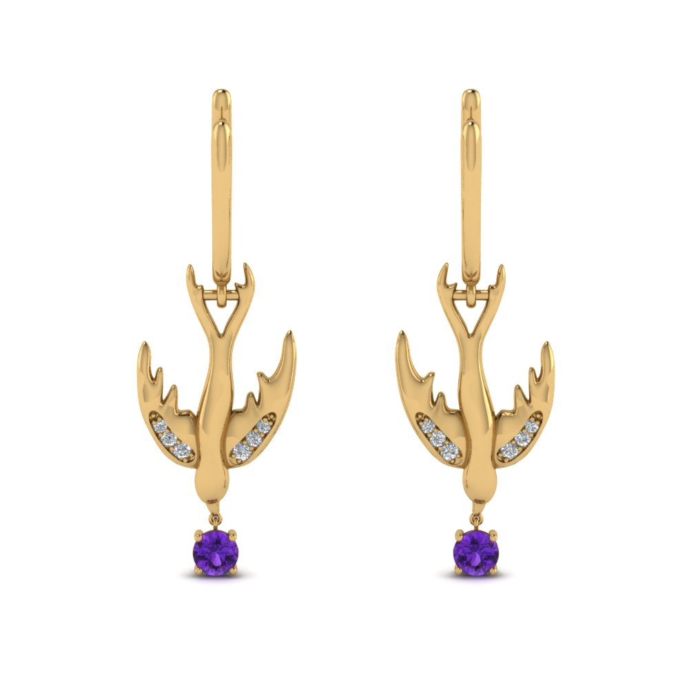 bird design diamond drop earring with purple topaz in FDEAR8874ROGVITO NL YG