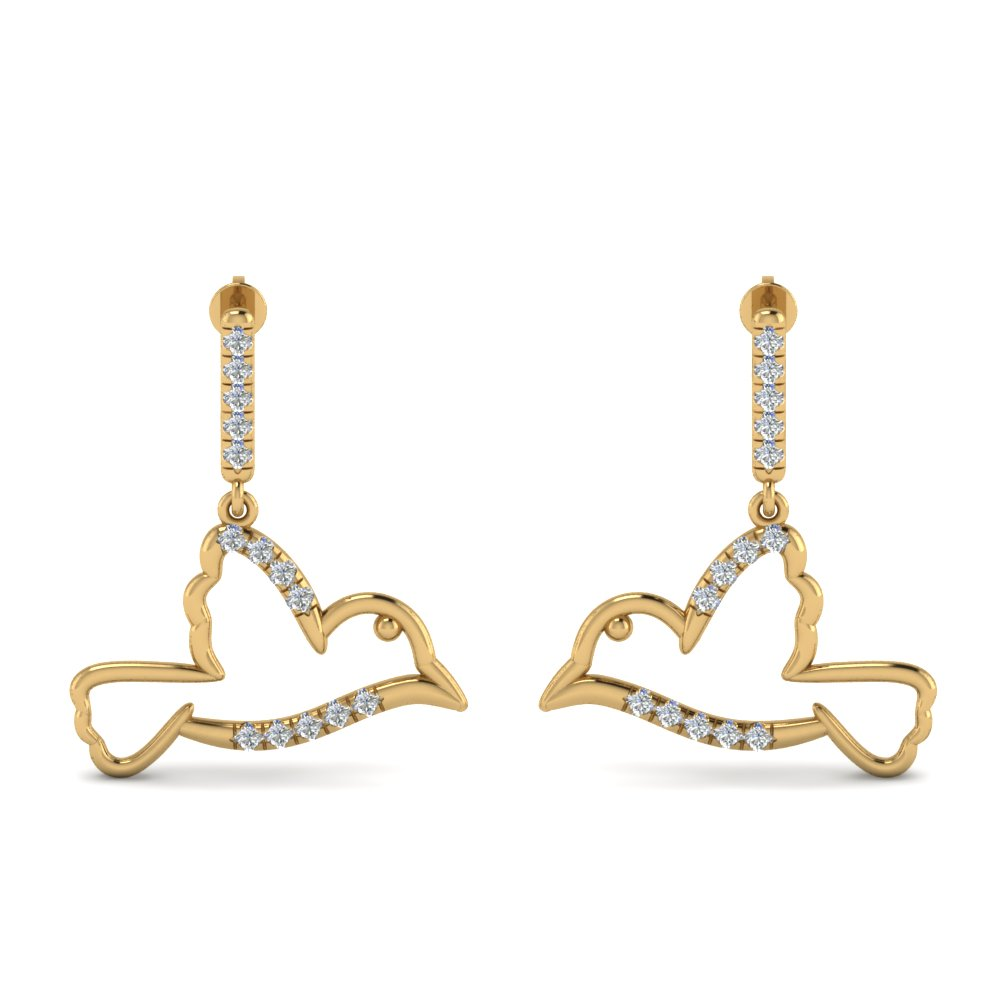 bird drop diamond earring in 14K yellow gold FDEAR8930ANGLE1 NL YG