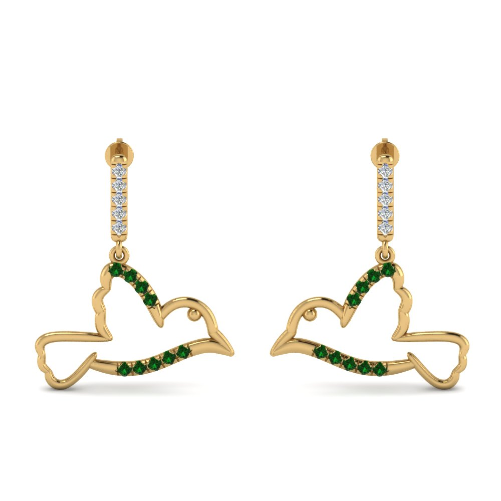 Emerald Bird Earring