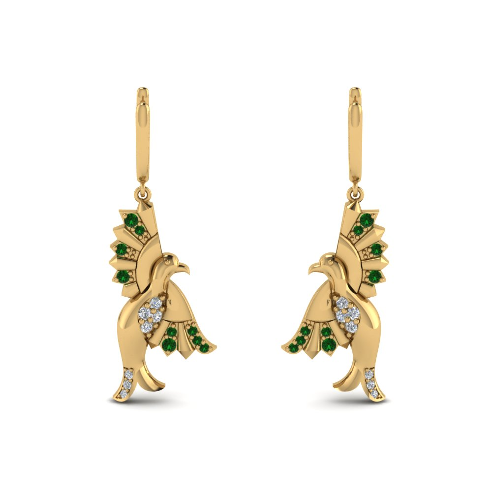 Yellow Gold Emerald Earring