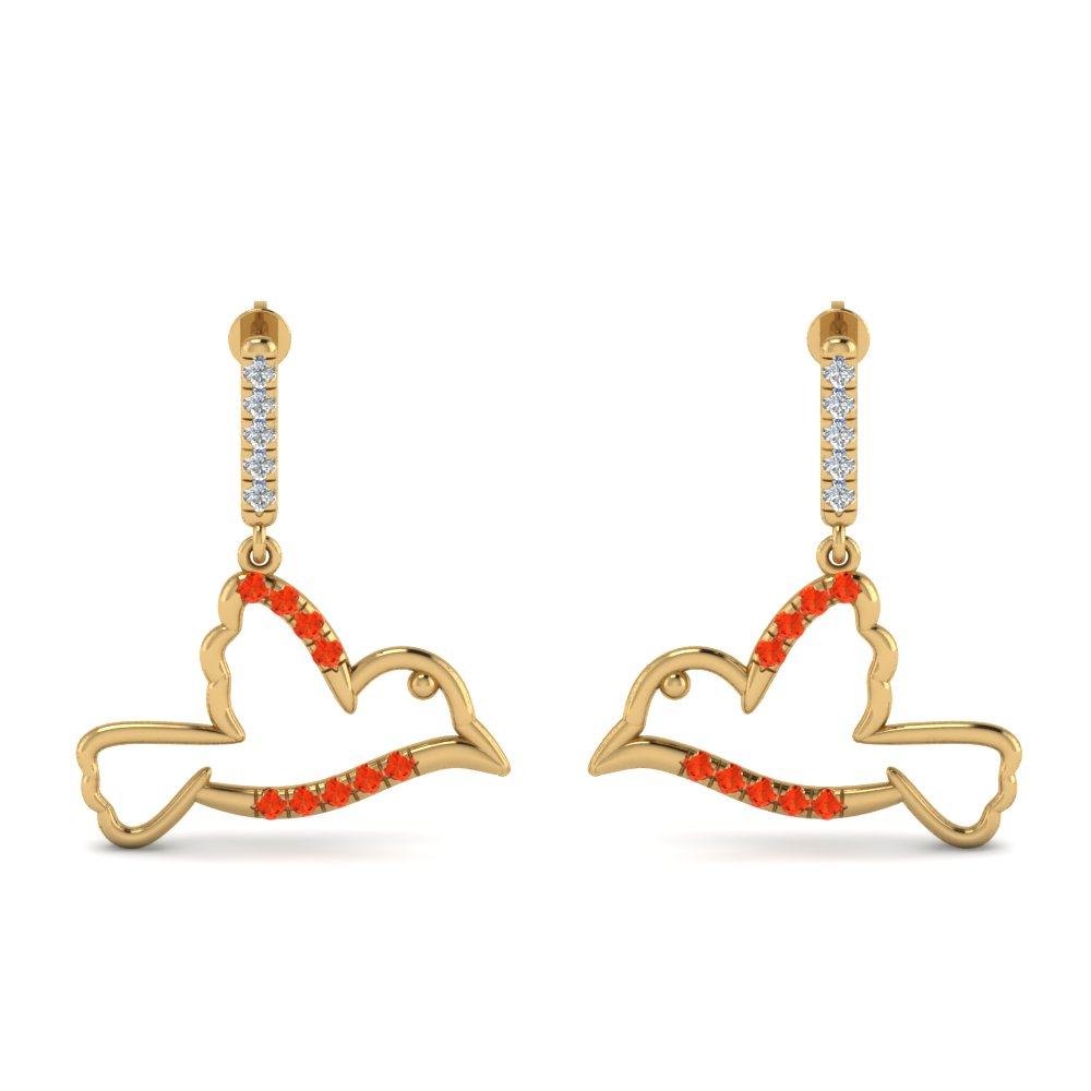 Orange Topaz Prong Bird Earring