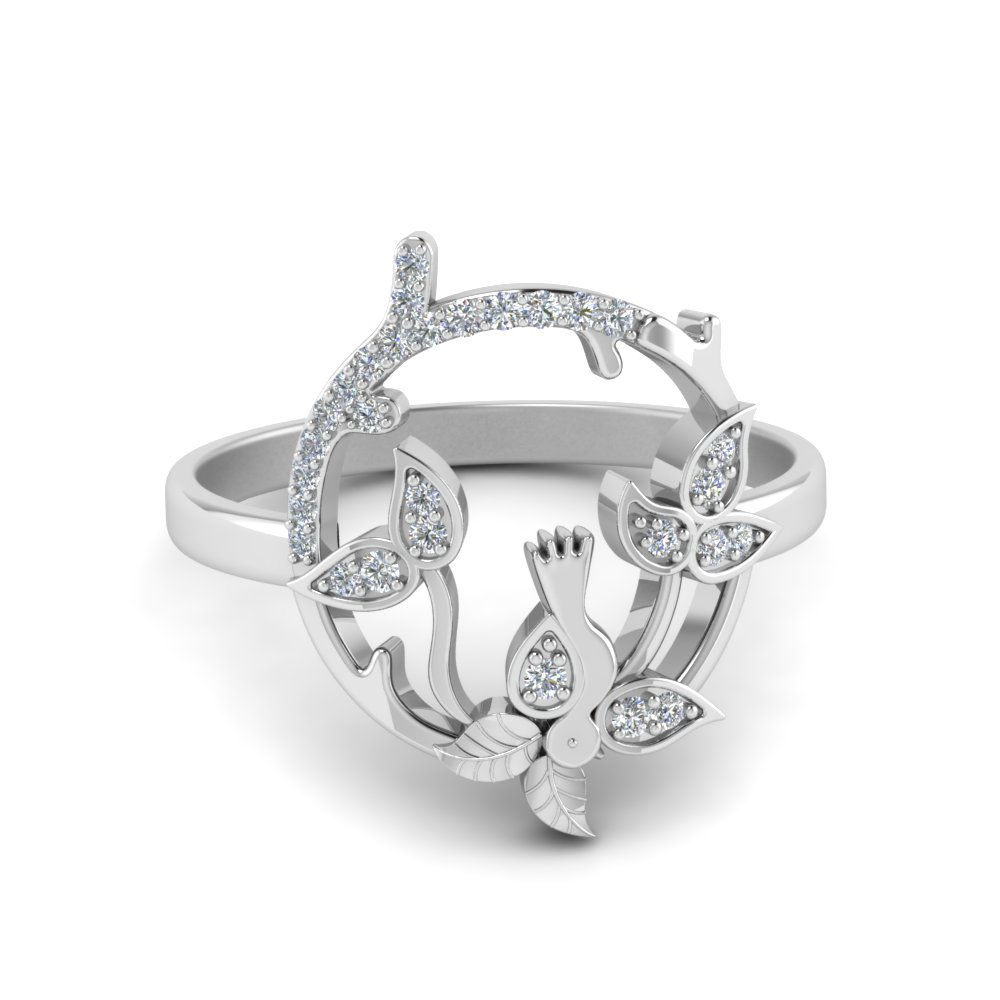 bird leaf diamond engagement ring in 14K white gold FD8854 NL WG
