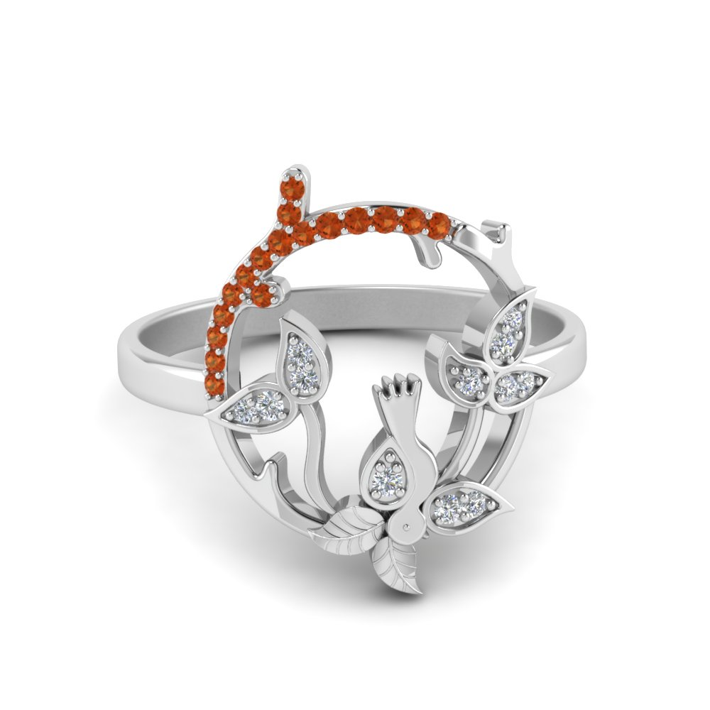 Bird Leaf Ring With Orange Sapphire