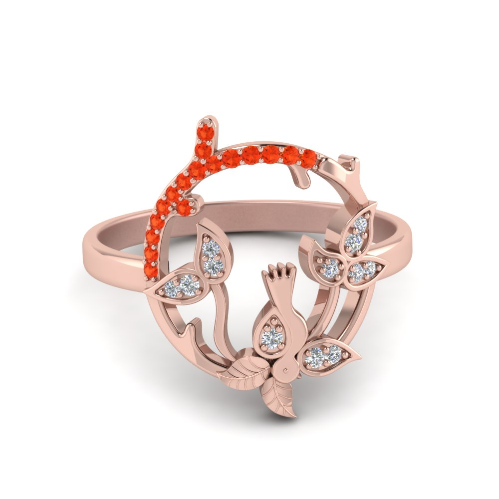 bird leaf diamond engagement ring with orange topaz in 14K rose gold FD8854GPOTO NL RG