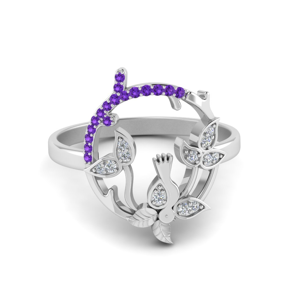 Bird Leaf Purple Topaz Ring