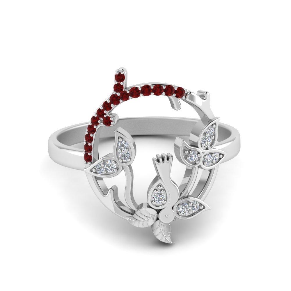 Bird Leaf Ruby Ring