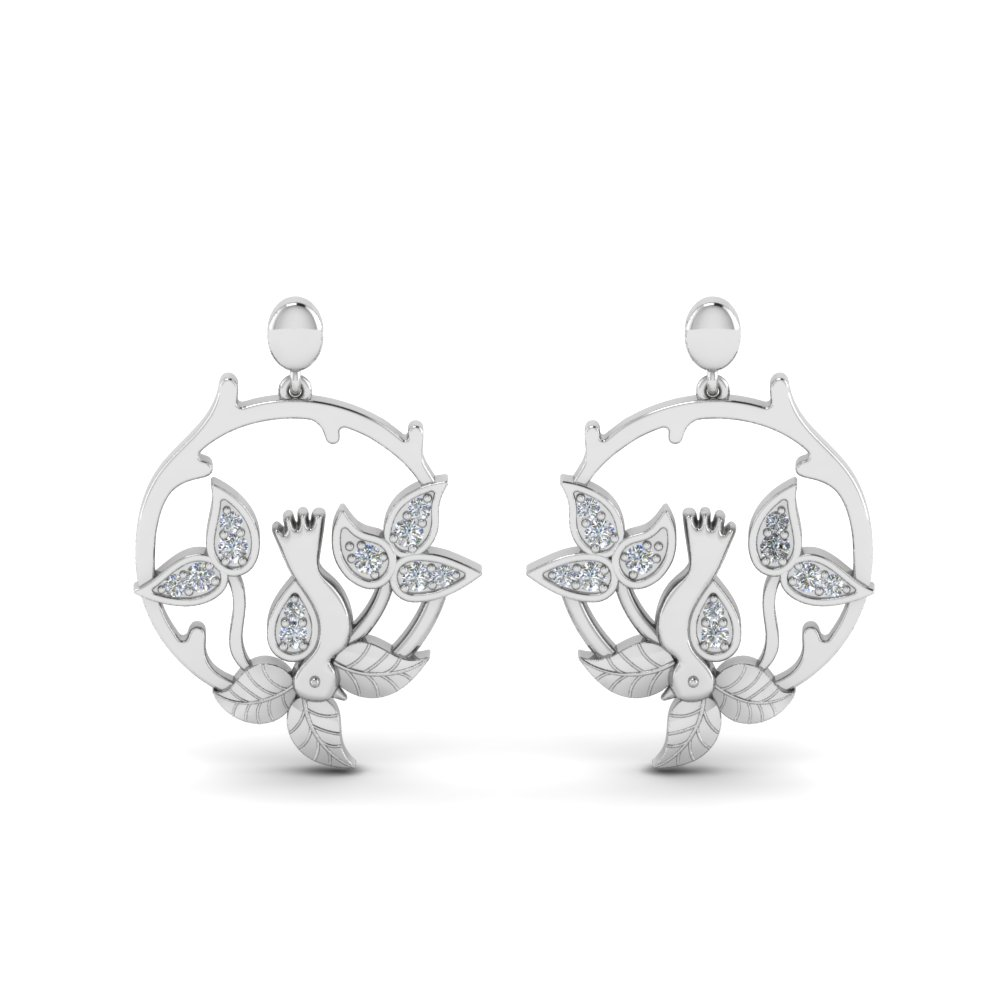 Diamond Bird Leaf Drop Earring
