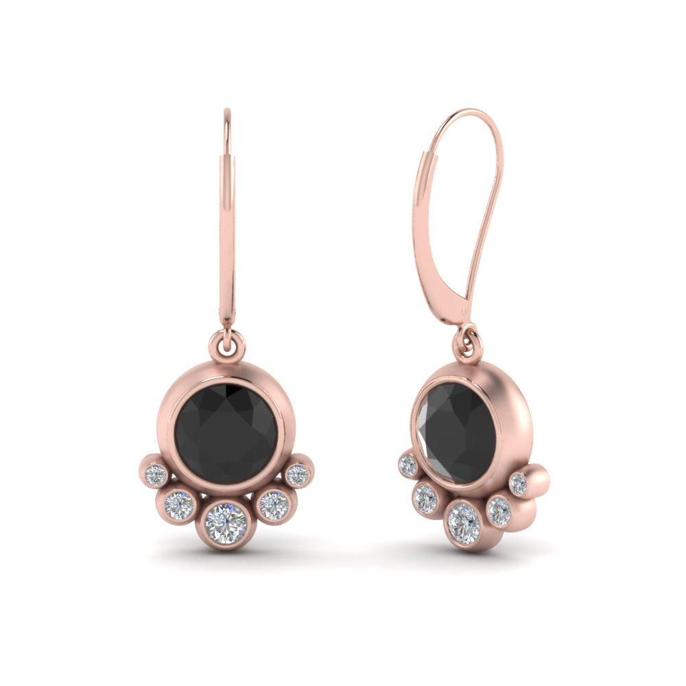 Leverback Black Diamond Drop Earring