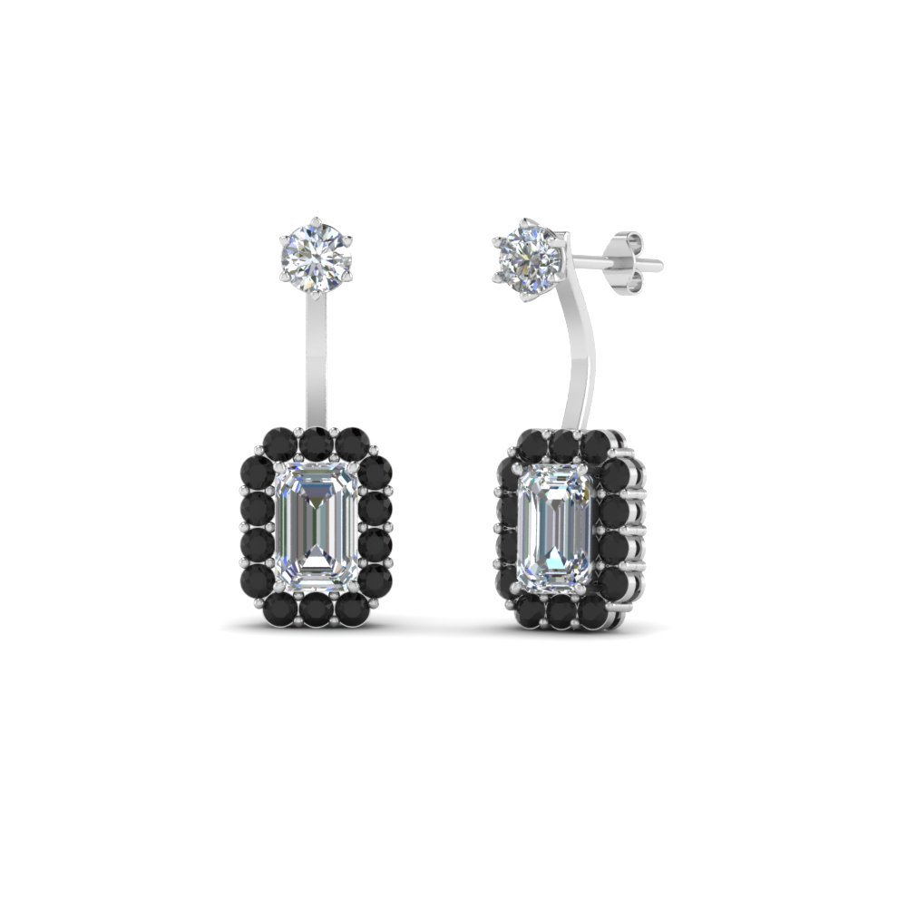 04bc0025eec black diamond front back earring in FDEAR8561GBLACK NL WG