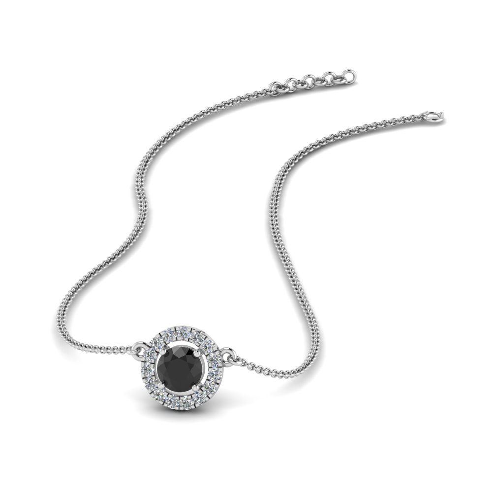0.30 ct. halo black diamond pendant necklace in FDPD8997GBLACK NL WG