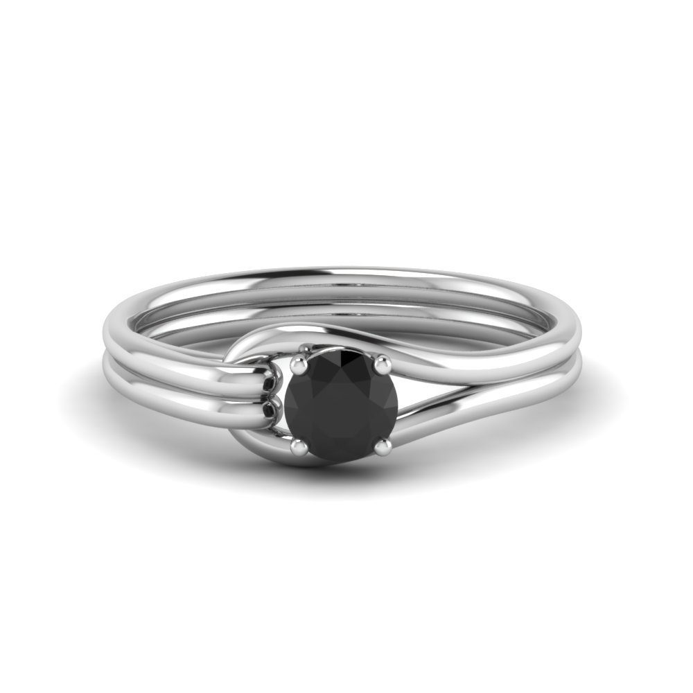 Black Diamond Loop Interlocked Solitaire Engagement Ring In 18K