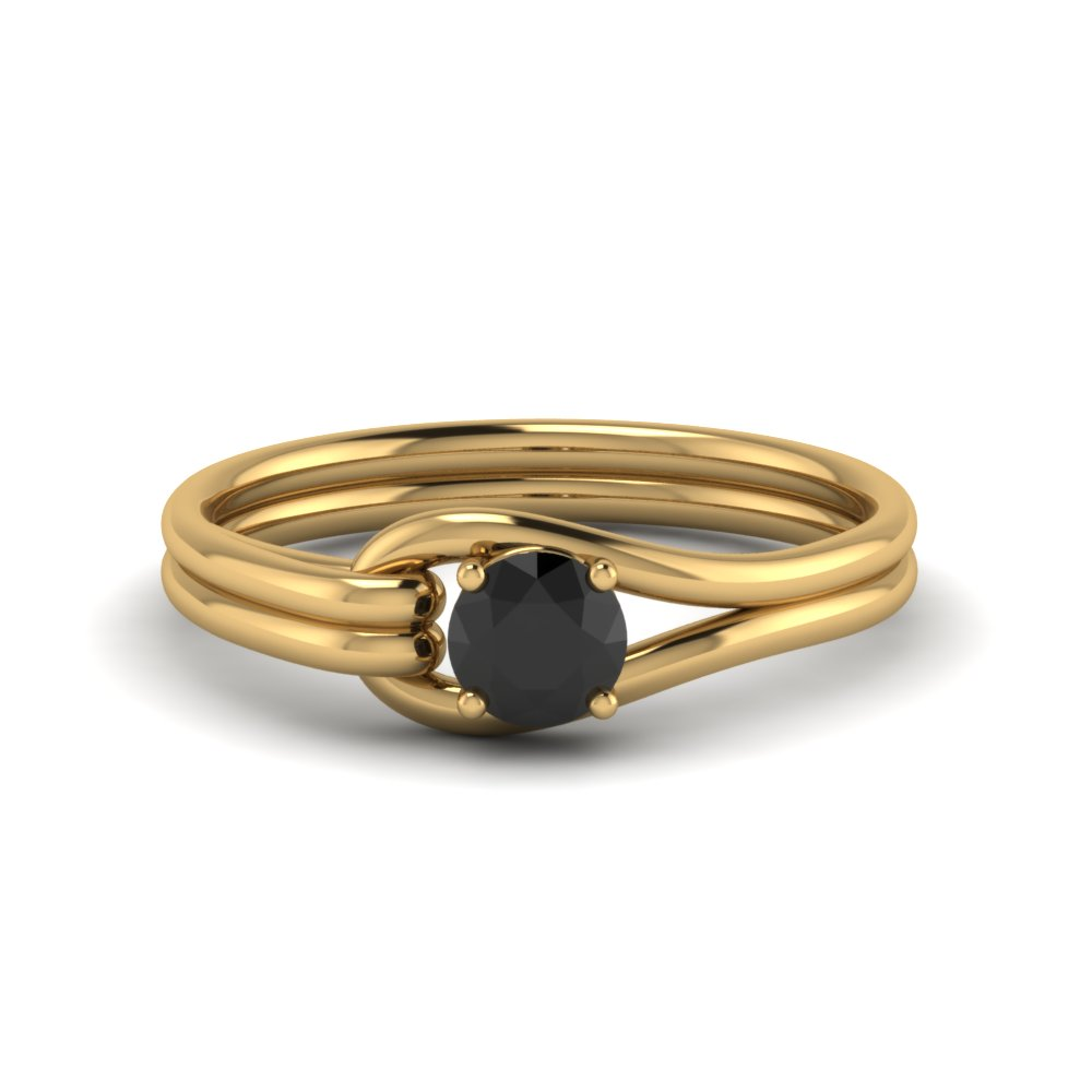 Black Diamond Loop Interlocked Solitaire Ring