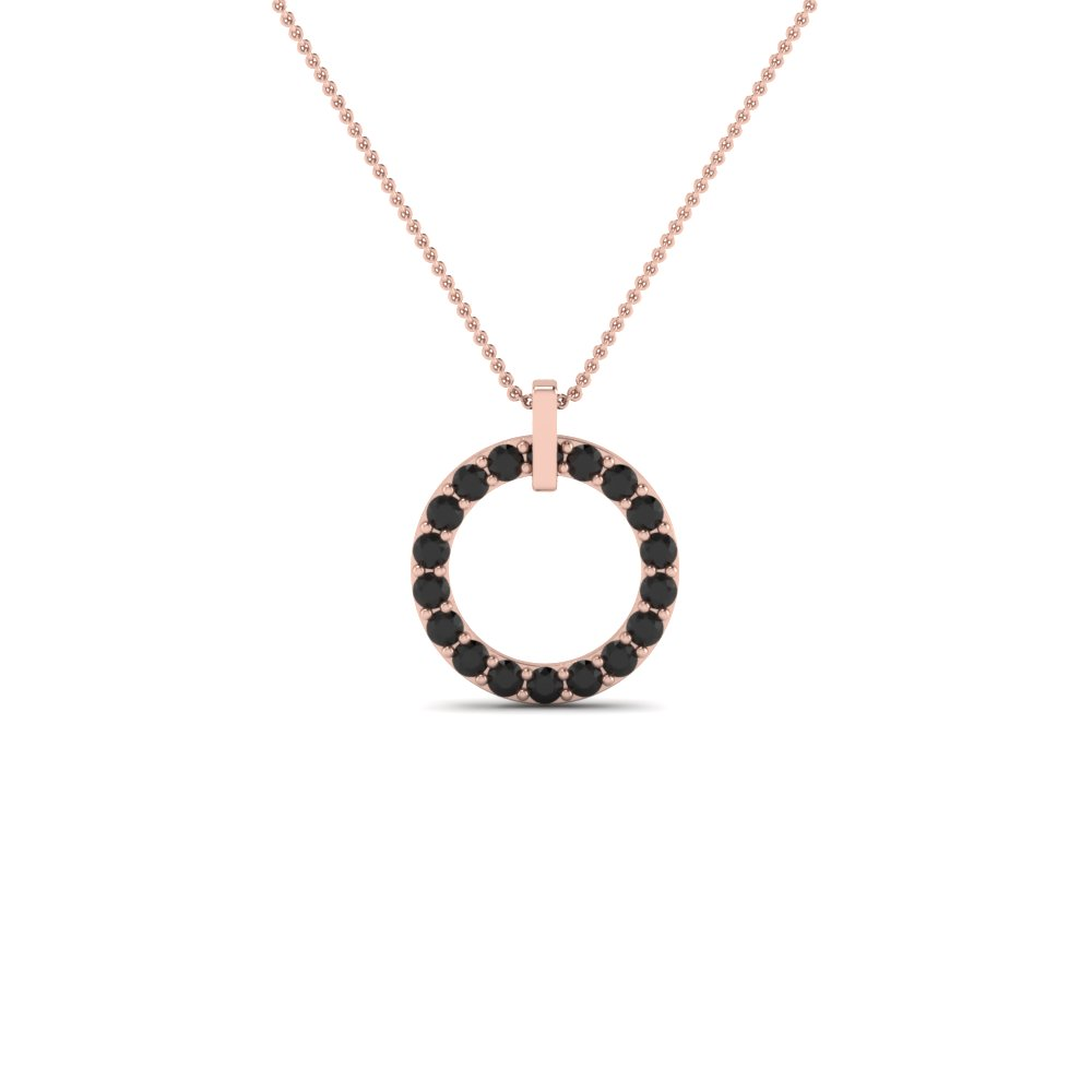 Black Diamond Open Circle Pendant Necklace Jewelry In 14K Rose Gold