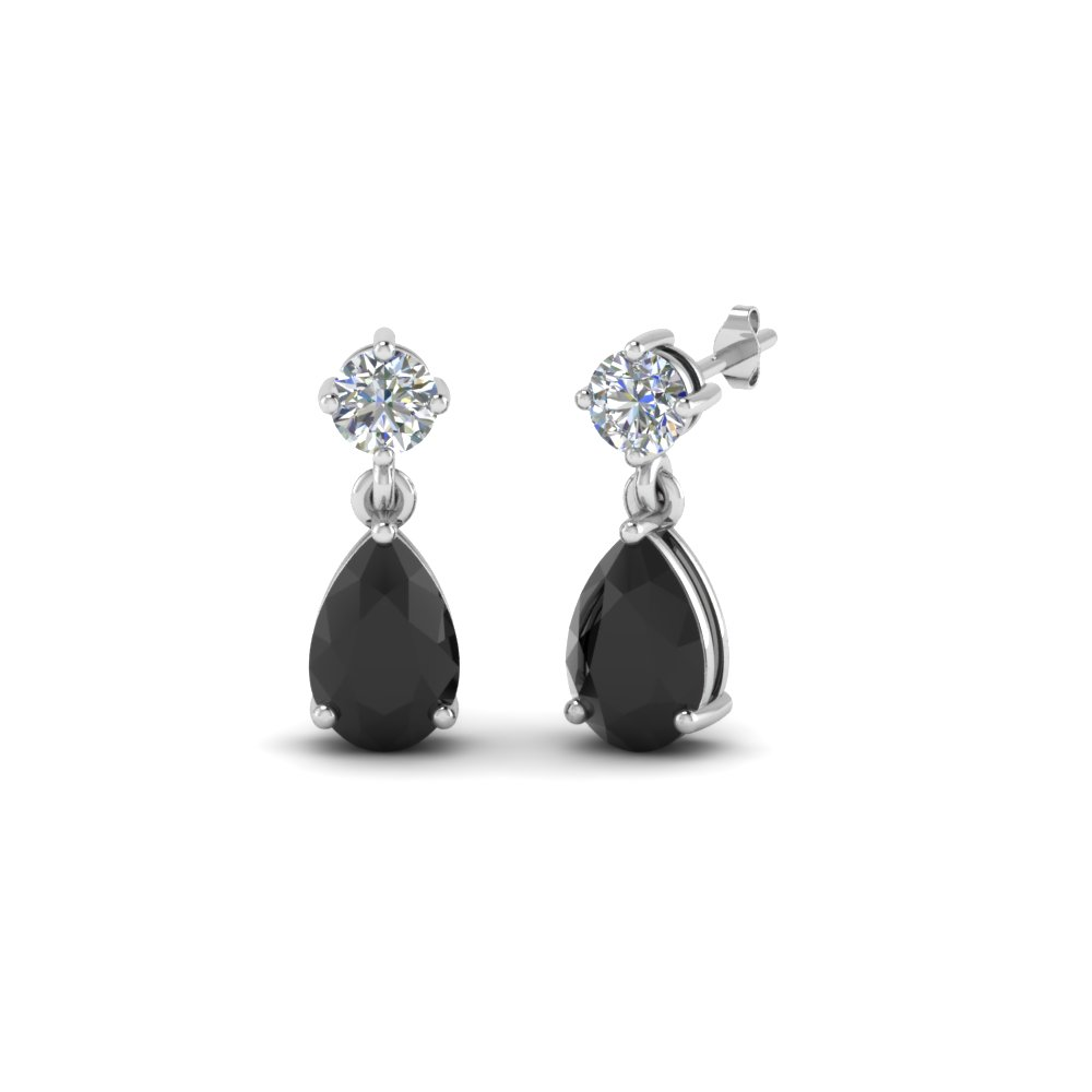 Black Diamond Pear Drop Stud Earring In Fdear8386gblack